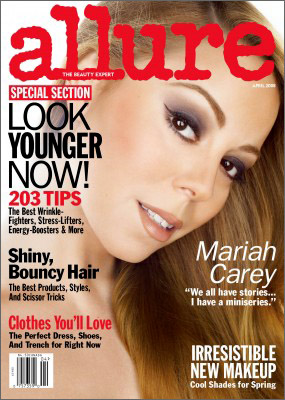"Mariah on the April 2008 cover of Allure, wearing her ""Brigitte eye..."""