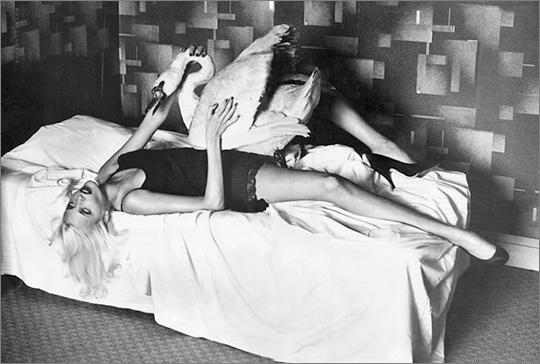 Nadja Auermann as Leda and the Swan, image by Helmut Newton for Vogue USA