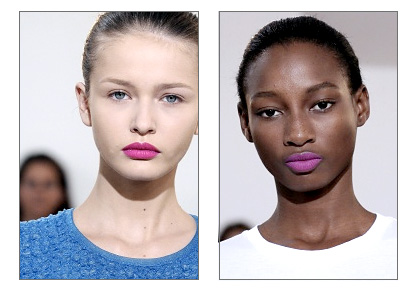 Bright pink lips in Jil Sander's spring 2011 show in Milan.                   (photos courtesy vogue.com)