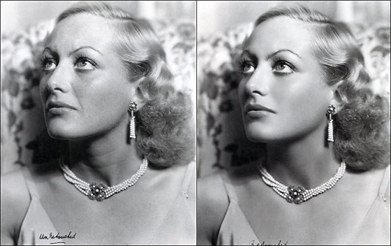 Joan Crawford, unretouched and retouched.