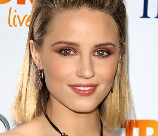 a tan Dianna Agron wearing burnt sienna eyeshadow